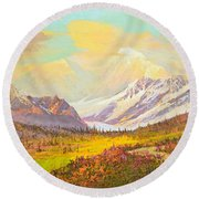 The Fall Colors Of Alaska Route 8 No.3 Round Beach Towel
