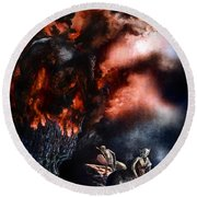 The Fall Of Azturath Round Beach Towel