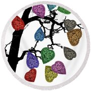 The Fall Of Hearts Round Beach Towel