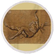 The Fall Of Icarus Round Beach Towel