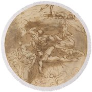 The Fall Of The Rebel Angels [recto] Round Beach Towel