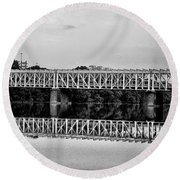 The Falls Bridge From Kelly Drive Round Beach Towel