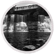 The Falls In Black And White Round Beach Towel