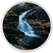 The Falls Of Black Creek In Autumn II Round Beach Towel