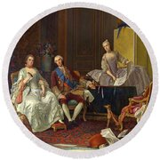 The Family Of Philip Of Parma  Round Beach Towel