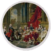 The Family Of Philip V Round Beach Towel