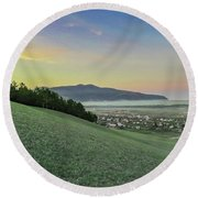The Far Mountain Round Beach Towel