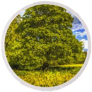 The Farm Tree Art Round Beach Towel