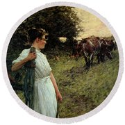 The Farmer's Daughter Round Beach Towel
