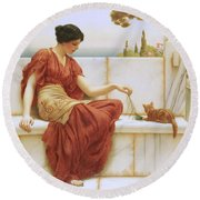 The Favorite Round Beach Towel by John William Godward