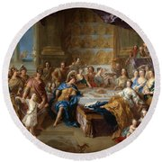 The Feast Of Dido And Aeneas. An Allegorical Portrait Of The Family Of The Duc And Duchesse Du Maine Round Beach Towel