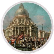 The Feast Of The Madonna Della Salute In Venice Round Beach Towel