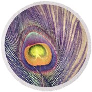 The Feather In Colour Round Beach Towel