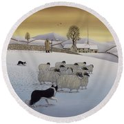 The Fells In Winter Round Beach Towel