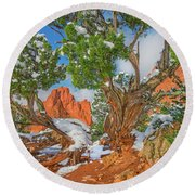The Ferruginous Earth Of The Rocky Mountain West Round Beach Towel