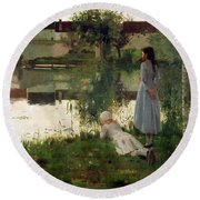 The Ferry Round Beach Towel by William Stott