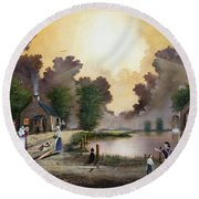 The Ferryman Round Beach Towel by Ken Wood