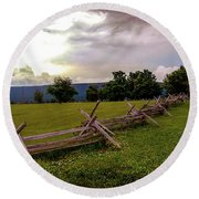 The Field Of Lost Shoes Round Beach Towel
