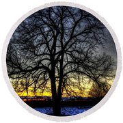 The Field Tree Hdr Round Beach Towel