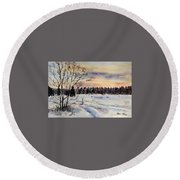 The Fields After Snow Round Beach Towel