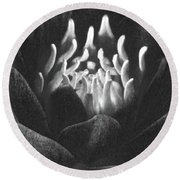 The Fire Inside - Water Lily - Bw Round Beach Towel