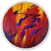 The Fire Of Life Round Beach Towel
