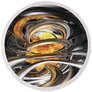 The Fire Within Abstract Round Beach Towel