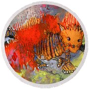 The Firecat Round Beach Towel