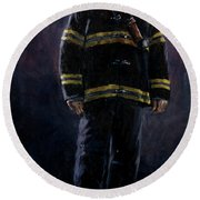 The Firefighter  Round Beach Towel
