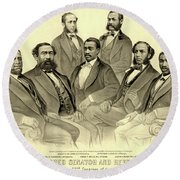 The First African American Senator And Representatives Round Beach Towel