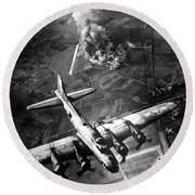 The First Big Raid By The 8th Air Force Round Beach Towel