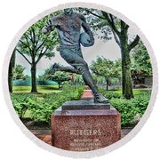 The First Football Game Monument Round Beach Towel