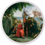 The First Landing Of Christopher Columbus Round Beach Towel by Dioscoro Teofilo Puebla Tolin