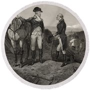 The First Meeting Of George Washington And Alexander Hamilton Round Beach Towel