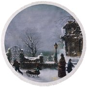 The First Snow, 1877 Round Beach Towel