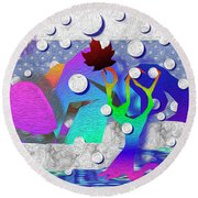 The First Snow Round Beach Towel
