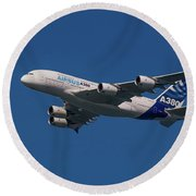 The Firts Airbus A380 Round Beach Towel