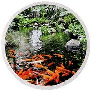 The Fish Pond At Thailand Round Beach Towel