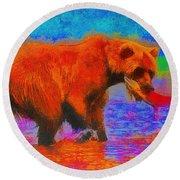 The Fishing Bear - Da Round Beach Towel