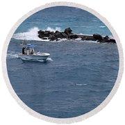 The Fishing Boat Round Beach Towel