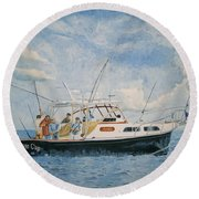 The Fishing Charter - Cape Cod Bay Round Beach Towel