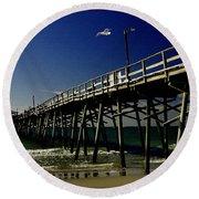 The Fishing Pier Round Beach Towel