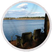 The Fishing Spot Round Beach Towel