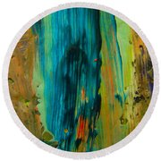 The Flair Of The Flame Abstract Round Beach Towel