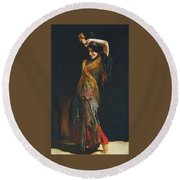 The Flamenco Dancer Round Beach Towel