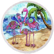 The Flamingo Family's Day At The Beach Round Beach Towel