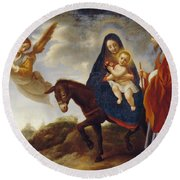 The Flight Into Egypt Round Beach Towel by Carlo Dolci
