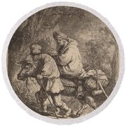 The Flight Into Egypt: Small Round Beach Towel