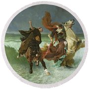 The Flight Of Gradlon Mawr Round Beach Towel by Evariste Vital Luminais