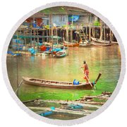 The Floating Village Round Beach Towel